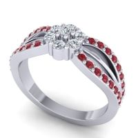 Simple Floral Pave Kalikda Diamond Ring with Ruby in 18k White Gold