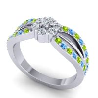 Simple Floral Pave Kalikda Diamond Ring with Swiss Blue Topaz and Peridot in 14k White Gold