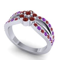 Simple Floral Pave Kalikda Garnet Ring with Amethyst and Ruby in 14k White Gold
