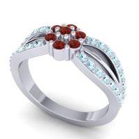 Simple Floral Pave Kalikda Garnet Ring with Aquamarine in 18k White Gold