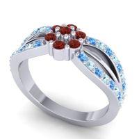 Simple Floral Pave Kalikda Garnet Ring with Aquamarine and Swiss Blue Topaz in Platinum