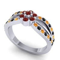 Simple Floral Pave Kalikda Garnet Ring with Black Onyx and Citrine in 18k White Gold