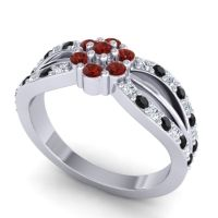 Simple Floral Pave Kalikda Garnet Ring with Black Onyx and Diamond in 18k White Gold
