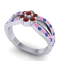 Simple Floral Pave Kalikda Garnet Ring with Blue Sapphire and Pink Tourmaline in 18k White Gold