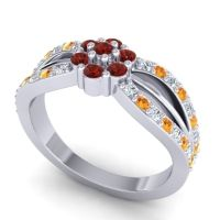 Simple Floral Pave Kalikda Garnet Ring with Citrine and Diamond in 14k White Gold