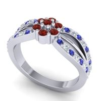Simple Floral Pave Kalikda Garnet Ring with Diamond and Blue Sapphire in Platinum