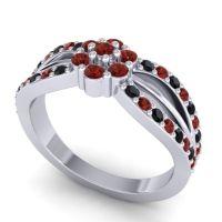 Simple Floral Pave Kalikda Garnet Ring with Black Onyx in Platinum