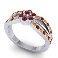 Simple Floral Pave Kalikda Garnet Ring with Citrine in 18k White Gold
