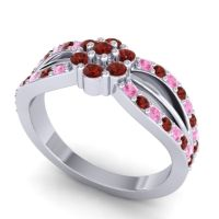 Simple Floral Pave Kalikda Garnet Ring with Pink Tourmaline in Palladium
