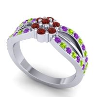 Simple Floral Pave Kalikda Garnet Ring with Peridot and Amethyst in Platinum