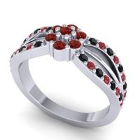 Simple Floral Pave Kalikda Garnet Ring with Ruby and Black Onyx in Platinum