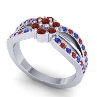 Simple Floral Pave Kalikda Garnet Ring with Ruby and Blue Sapphire in Palladium