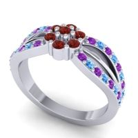 Simple Floral Pave Kalikda Garnet Ring with Swiss Blue Topaz and Amethyst in 18k White Gold