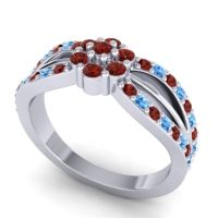Simple Floral Pave Kalikda Garnet Ring with Swiss Blue Topaz in Platinum