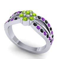 Simple Floral Pave Kalikda Peridot Ring with Amethyst and Black Onyx in Platinum