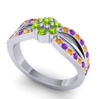 Simple Floral Pave Kalikda Peridot Ring with Amethyst and Citrine in 18k White Gold