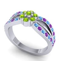 Simple Floral Pave Kalikda Peridot Ring with Amethyst and Swiss Blue Topaz in 14k White Gold