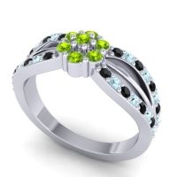 Simple Floral Pave Kalikda Peridot Ring with Aquamarine and Black Onyx in 14k White Gold