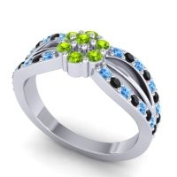 Simple Floral Pave Kalikda Peridot Ring with Black Onyx and Swiss Blue Topaz in 18k White Gold