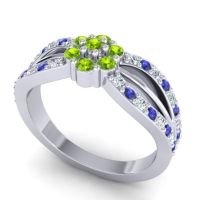 Simple Floral Pave Kalikda Peridot Ring with Blue Sapphire and Diamond in 18k White Gold