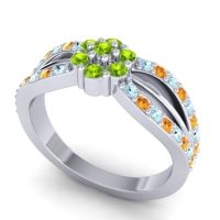 Simple Floral Pave Kalikda Peridot Ring with Citrine and Aquamarine in 18k White Gold