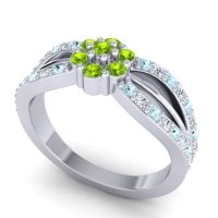 Simple Floral Pave Kalikda Peridot Ring with Diamond and Aquamarine in 14k White Gold