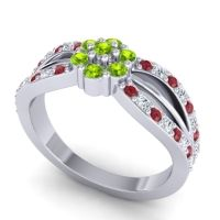 Simple Floral Pave Kalikda Peridot Ring with Diamond and Ruby in Platinum