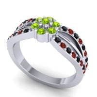 Simple Floral Pave Kalikda Peridot Ring with Garnet and Black Onyx in 18k White Gold
