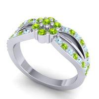 Simple Floral Pave Kalikda Peridot Ring with Aquamarine in 18k White Gold