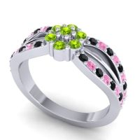 Simple Floral Pave Kalikda Peridot Ring with Pink Tourmaline and Black Onyx in Platinum