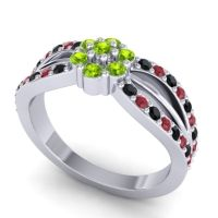 Simple Floral Pave Kalikda Peridot Ring with Ruby and Black Onyx in Platinum