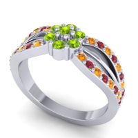 Simple Floral Pave Kalikda Peridot Ring with Ruby and Citrine in 18k White Gold