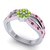 Simple Floral Pave Kalikda Peridot Ring with Ruby and Pink Tourmaline in Palladium