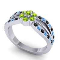 Simple Floral Pave Kalikda Peridot Ring with Swiss Blue Topaz and Black Onyx in Palladium