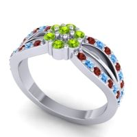 Simple Floral Pave Kalikda Peridot Ring with Swiss Blue Topaz and Garnet in 18k White Gold