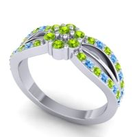 Simple Floral Pave Kalikda Peridot Ring with Swiss Blue Topaz in Platinum