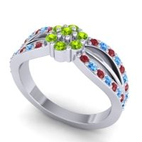 Simple Floral Pave Kalikda Peridot Ring with Swiss Blue Topaz and Ruby in Palladium