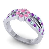 Simple Floral Pave Kalikda Pink Tourmaline Ring with Aquamarine and Amethyst in 14k White Gold