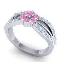 Simple Floral Pave Kalikda Pink Tourmaline Ring with Aquamarine and Diamond in 14k White Gold