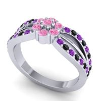 Simple Floral Pave Kalikda Pink Tourmaline Ring with Black Onyx and Amethyst in Palladium
