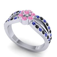 Simple Floral Pave Kalikda Pink Tourmaline Ring with Black Onyx and Blue Sapphire in 18k White Gold