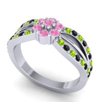 Simple Floral Pave Kalikda Pink Tourmaline Ring with Black Onyx and Peridot in Palladium