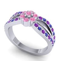 Simple Floral Pave Kalikda Pink Tourmaline Ring with Blue Sapphire and Amethyst in 14k White Gold