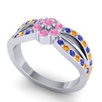 Simple Floral Pave Kalikda Pink Tourmaline Ring with Citrine and Blue Sapphire in Platinum