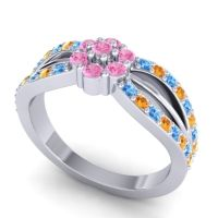 Simple Floral Pave Kalikda Pink Tourmaline Ring with Citrine and Swiss Blue Topaz in 18k White Gold