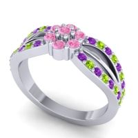 Simple Floral Pave Kalikda Pink Tourmaline Ring with Peridot and Amethyst in Platinum