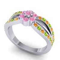 Simple Floral Pave Kalikda Pink Tourmaline Ring with Peridot and Citrine in 14k White Gold