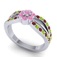 Simple Floral Pave Kalikda Pink Tourmaline Ring with Peridot and Garnet in 14k White Gold