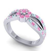 Simple Floral Pave Kalikda Pink Tourmaline Ring with Aquamarine in Platinum