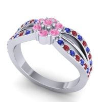 Simple Floral Pave Kalikda Pink Tourmaline Ring with Ruby and Blue Sapphire in Platinum